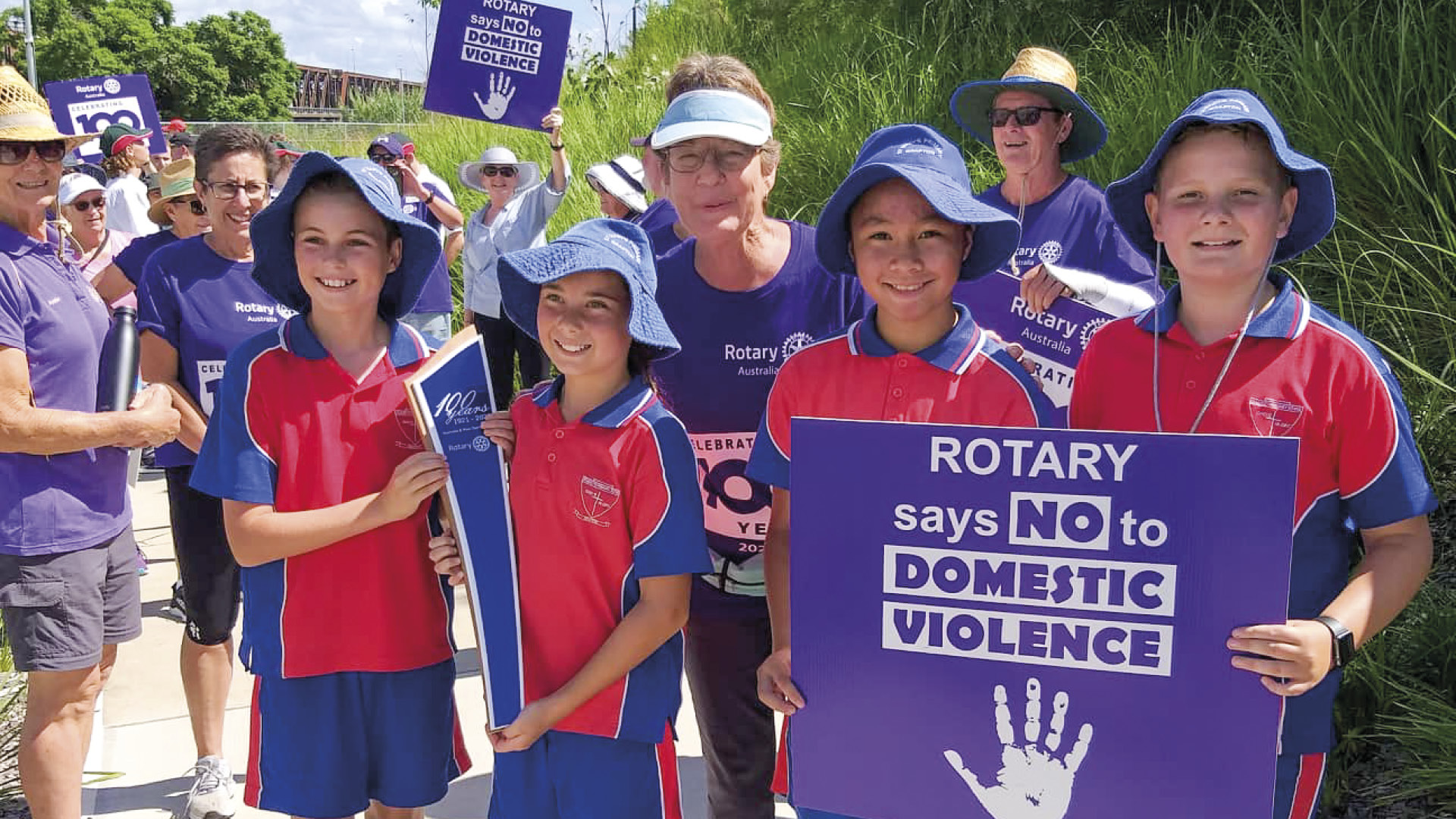 A relay with a cause District 9640 says 'No to Domestic Violence'
